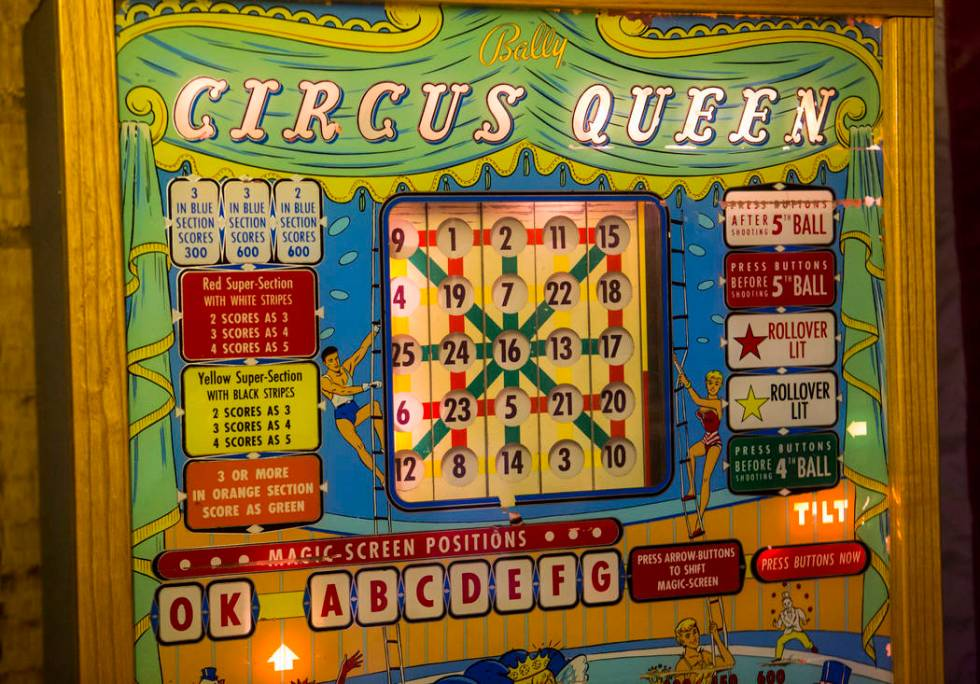"""A detailed view of the """"Circus Queen"""" bingo pinball machine made by Bally's at the ho ..."""