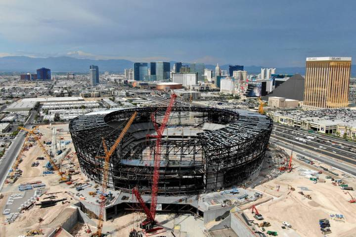 Aerial view of the Las Vegas Raiders stadium under construction as seen on Thursday, July 25, 2 ...
