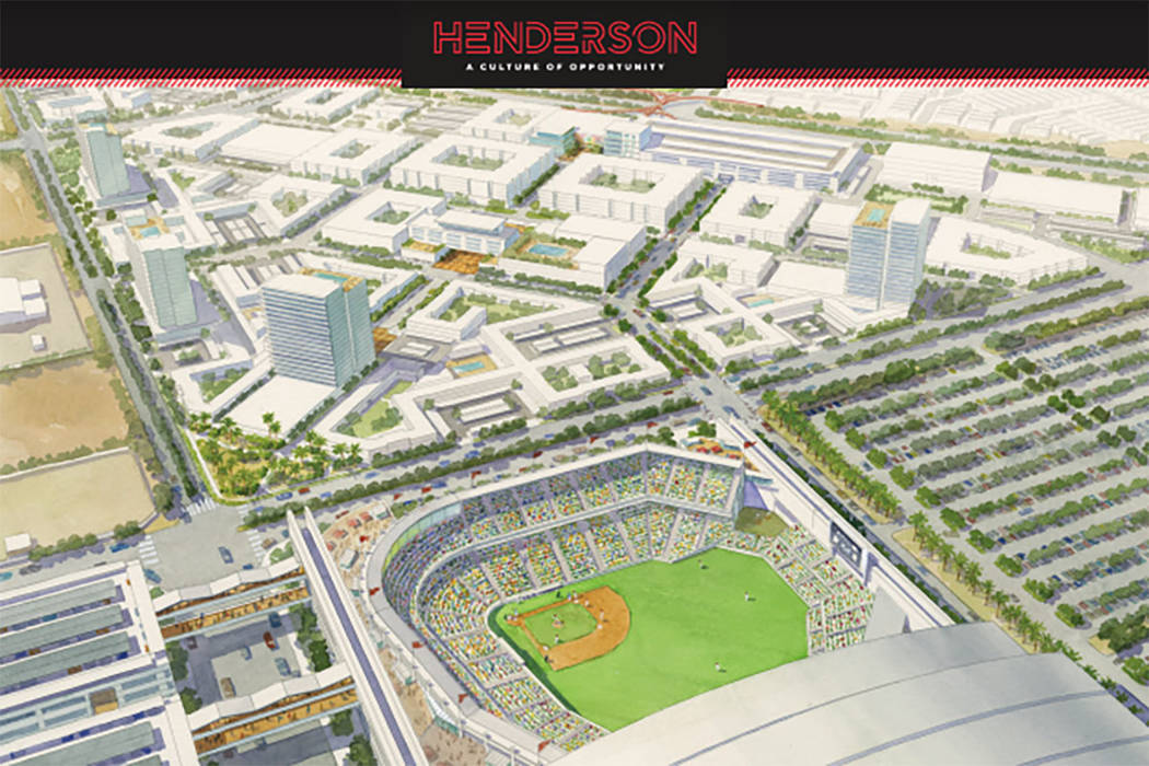 A rendering shows the proposed location for a ballpark in Henderson. (City of Henderson)