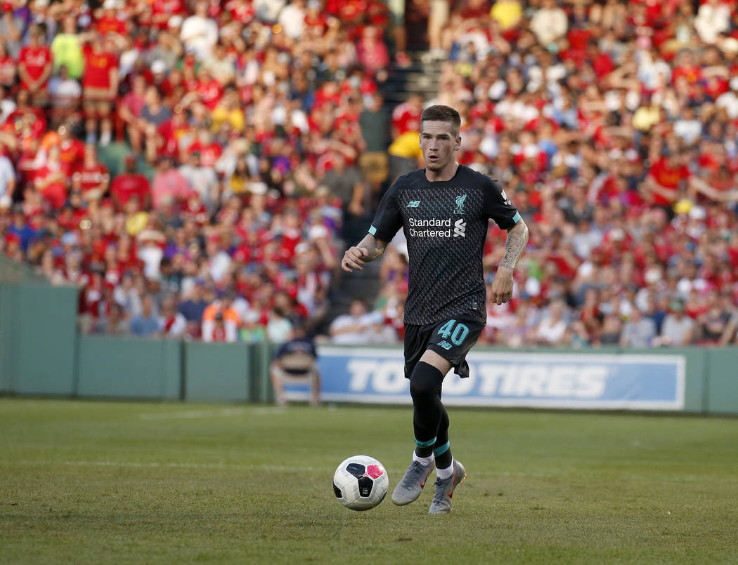 Liverpool's Ryan Kent (40) controls the ball during the second half of a friendly soccer match ...