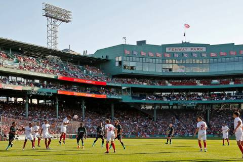 Liverpool and Sevilla play at Fenway Park in Boston on Sunday, July 21, 2019. (AP Photo/Mary Sc ...