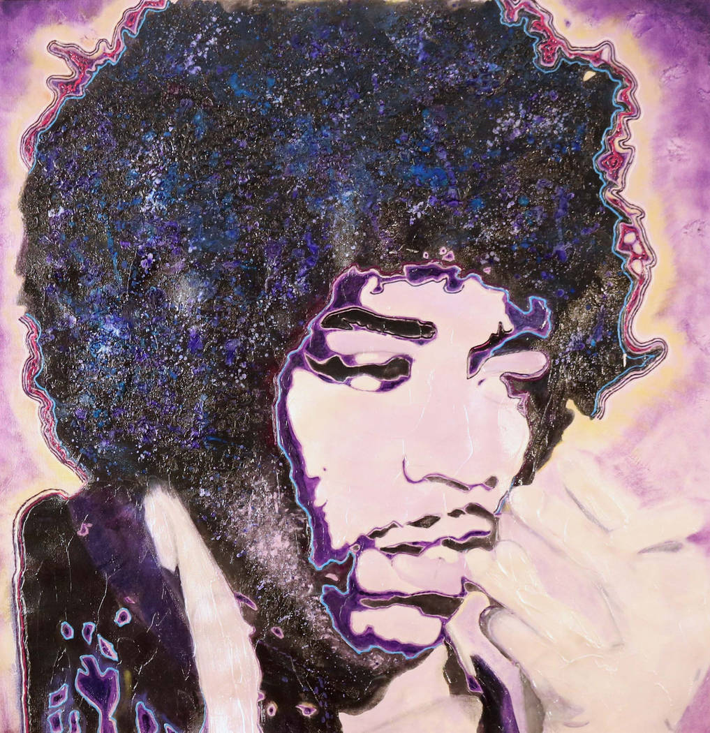 A portrait of Jimi Hendrix painted by Def Leppard drummer Rick Allen, who will be selling and d ...