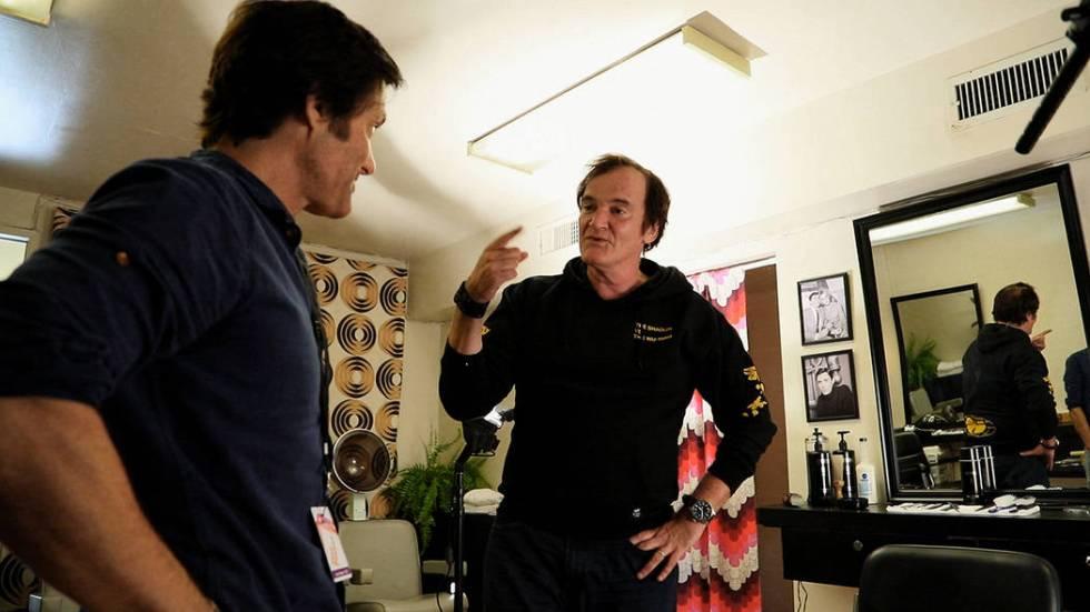 "Anthony DiMaria, left, interviews writer-director Quentin Tarantino for his ""Sebring"" documenta ..."