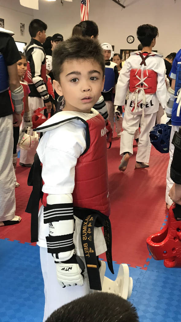Maximus Bell, who took first place in his division at the 2019 USA Taekwondo National Champions ...