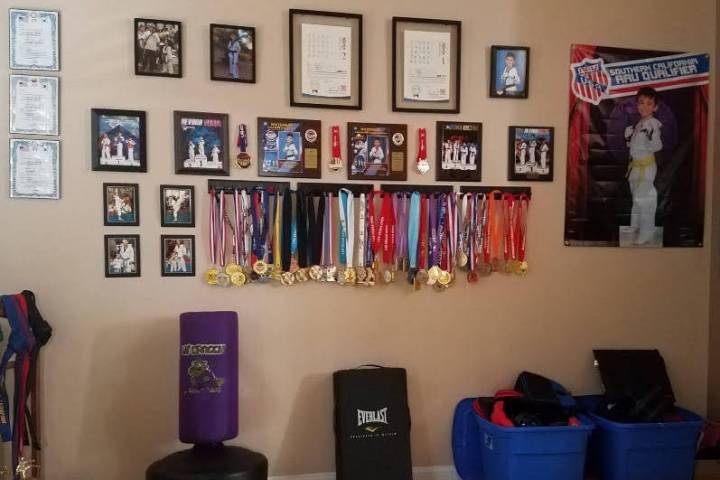 A practice room for Maximus Bell is filled with trophies and plaques. (Ken Bell)
