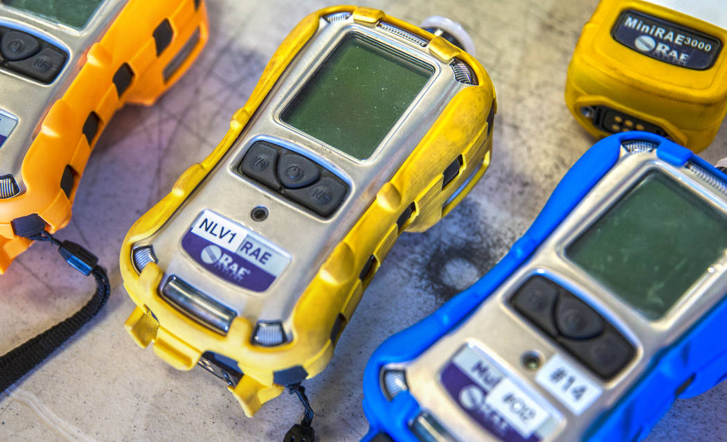 Air monitoring devices used to detect potentially dangerous airborne chemicals such as ammonia ...