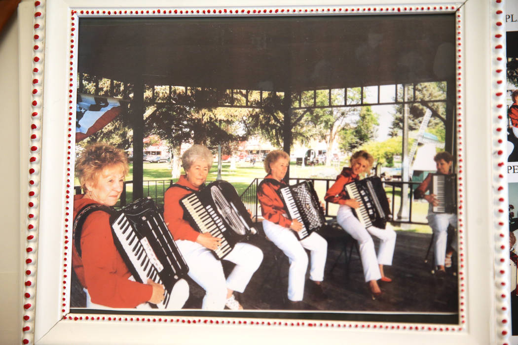 A photo of Etta Baykara, 91, far left, with her polka band, shown at her home in Las Vegas, Wed ...