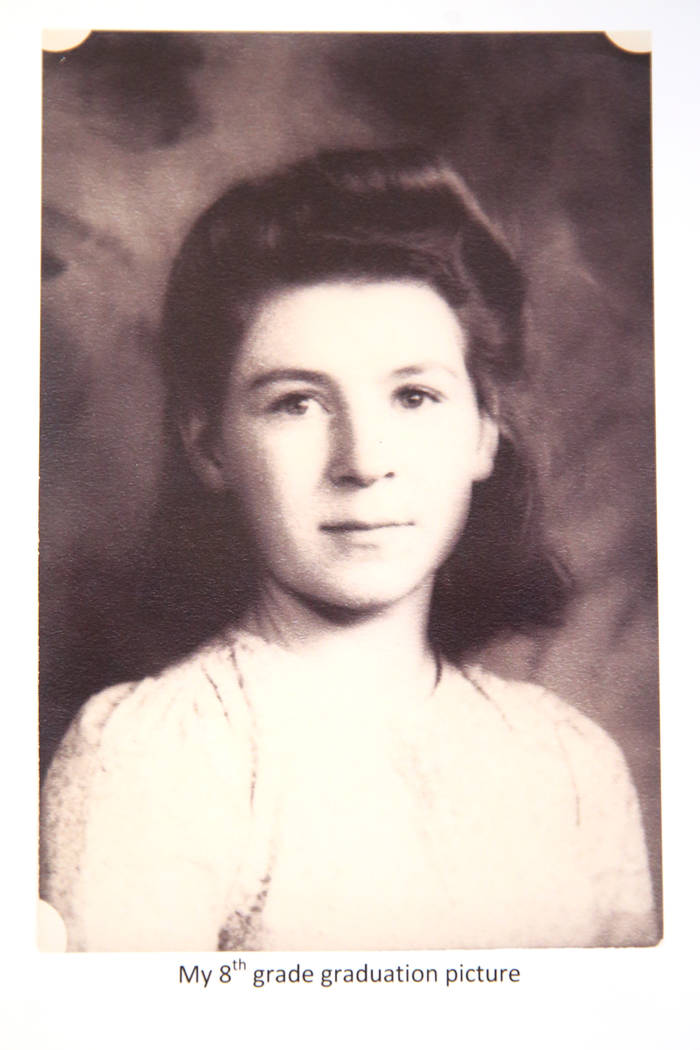 Etta Baykara, 91, in a picture of her eight grade graduation photo, at her home in Las Vegas, W ...