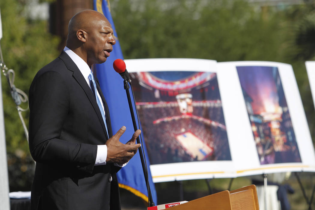 Ex-NBA player Jackie Robinson speaks during groundbreaking ceremony for the proposed All Net Ar ...