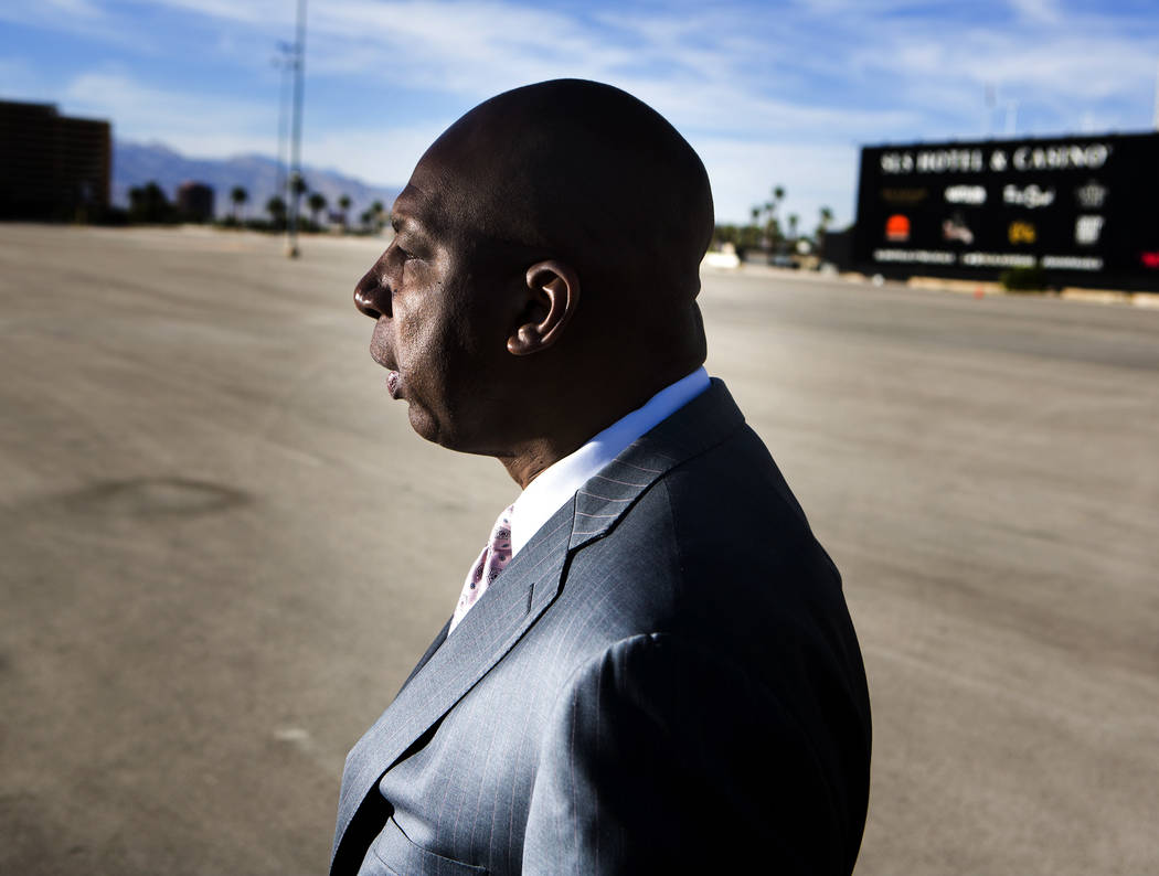 Developer Jackie Robinson stands at the old Wet 'n' Wild site on Tuesday, Oct. 21 2014. (Jeff S ...