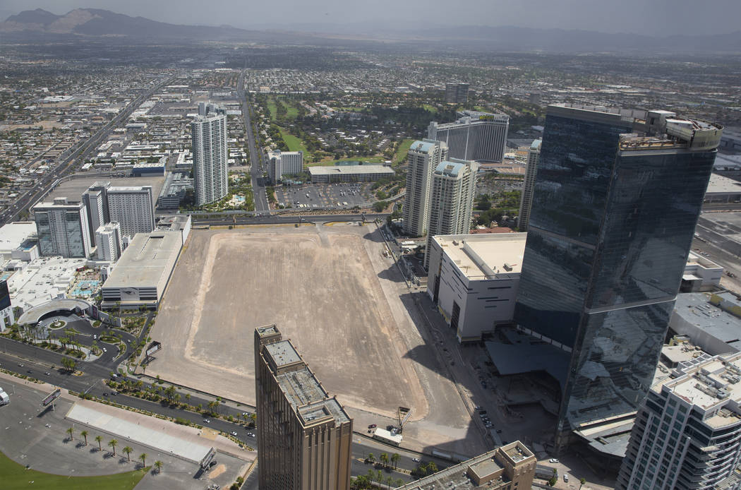 An aerial view of the site of ex-NBA player Jackie Robinson's proposed arena and hotel project ...