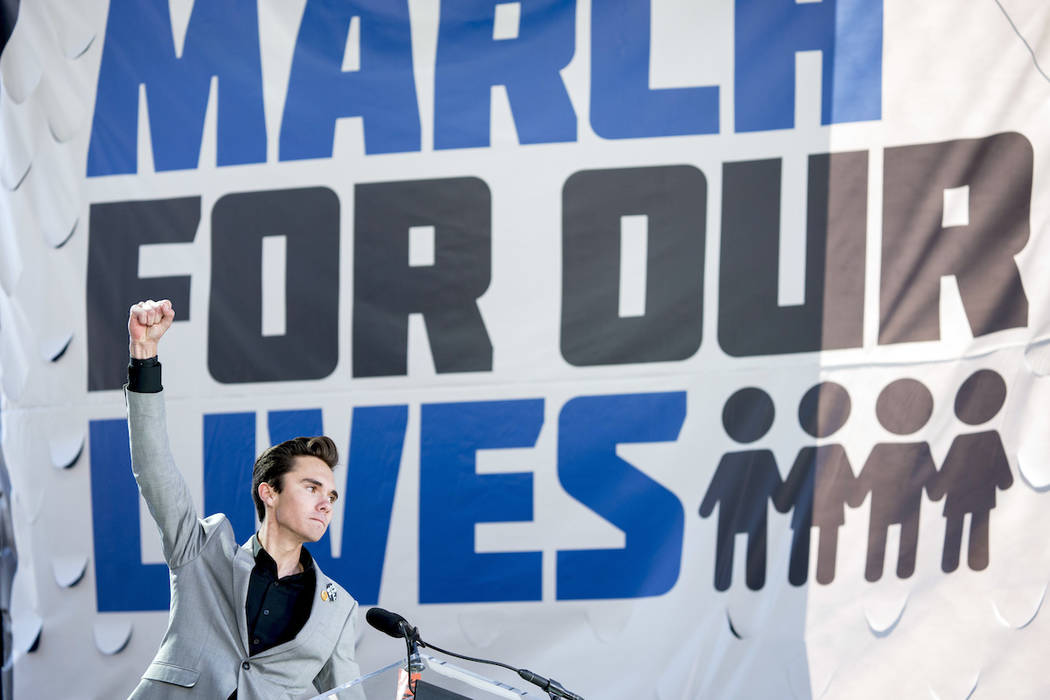 In this March 24, 2018, file photo, David Hogg, a survivor of the mass shooting at Marjory Ston ...