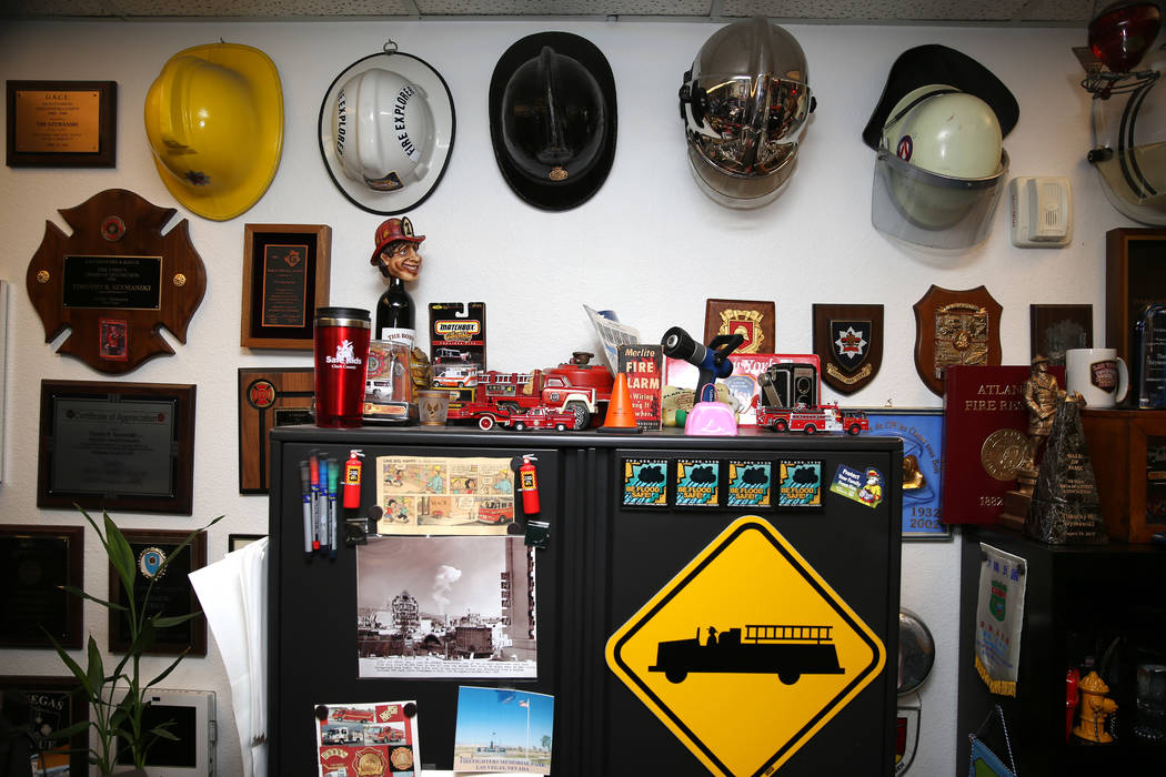 Inside the office of Las Vegas Fire and Rescue Public Education and Information Officer Tim Szy ...