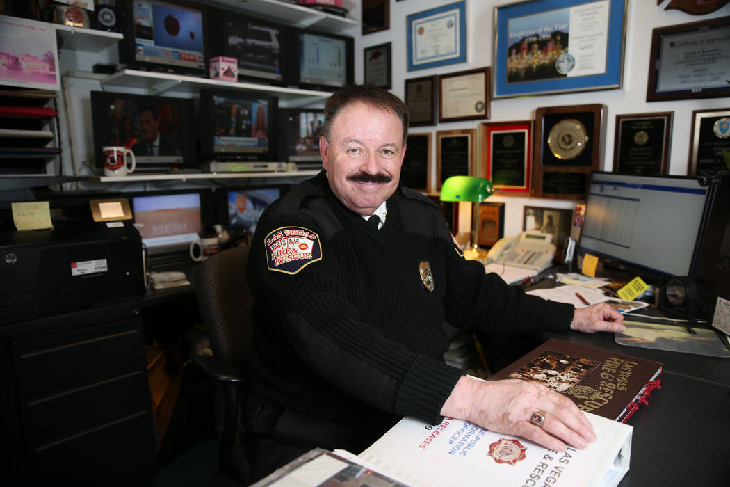Las Vegas Fire and Rescue Public Education and Information Officer Tim Szymanski, at his Las Ve ...
