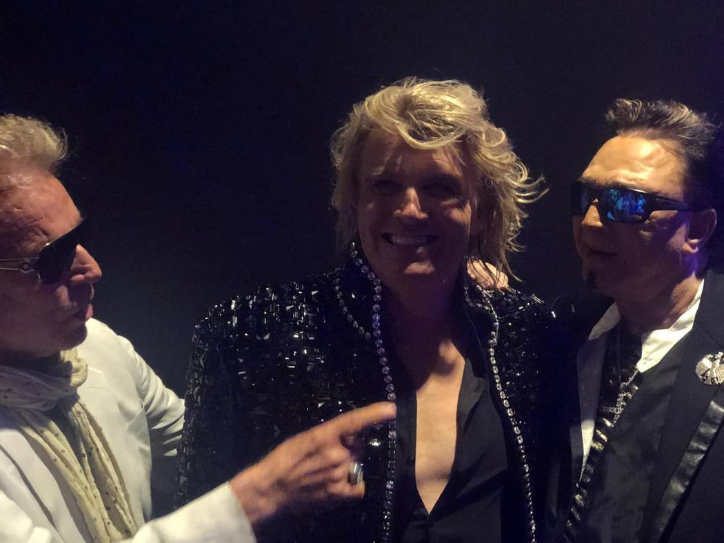 Siegfried, Hans Klok and Roy are shown after Klok's performance at Thunderland Showroom on Wedn ...