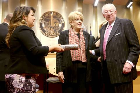 Las Vegas Mayor Carolyn Goodman, center, prepares to be sworn in to her third and final term du ...