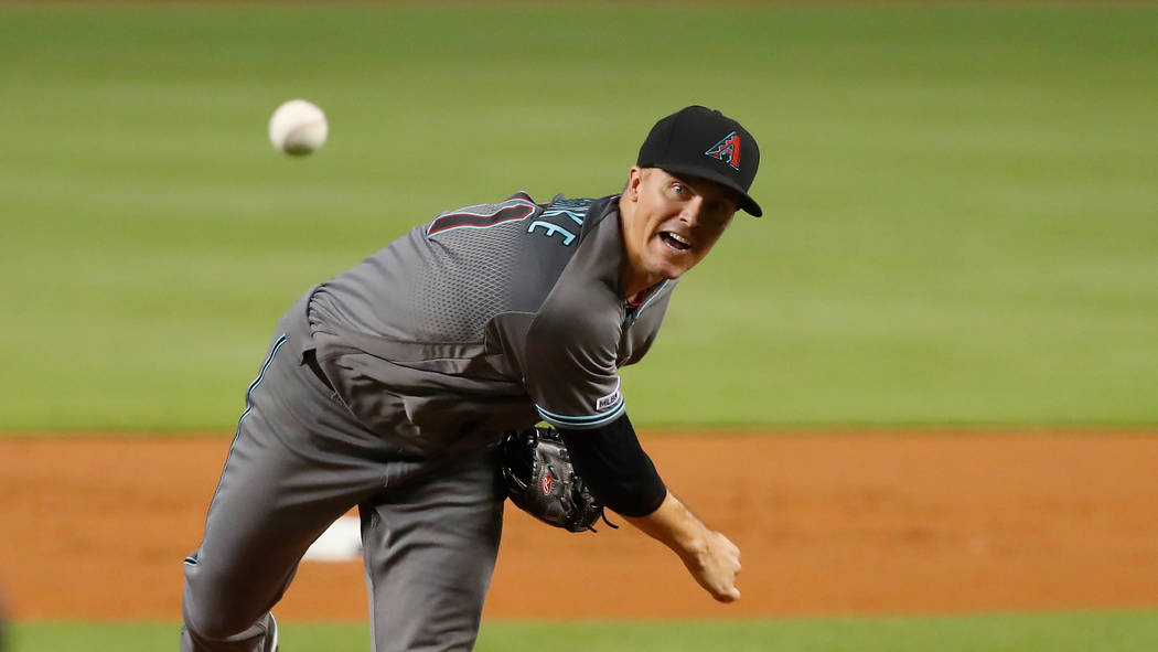Arizona Diamondbacks' Zack Greinke pitches during the first inning of a baseball game against t ...