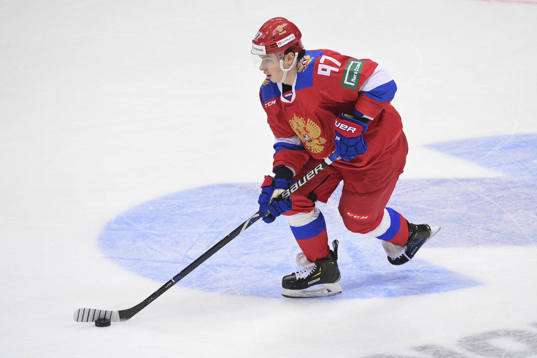 Russia's Nikita Gusev controls a puck during the Channel One Cup ice hockey match between Russi ...