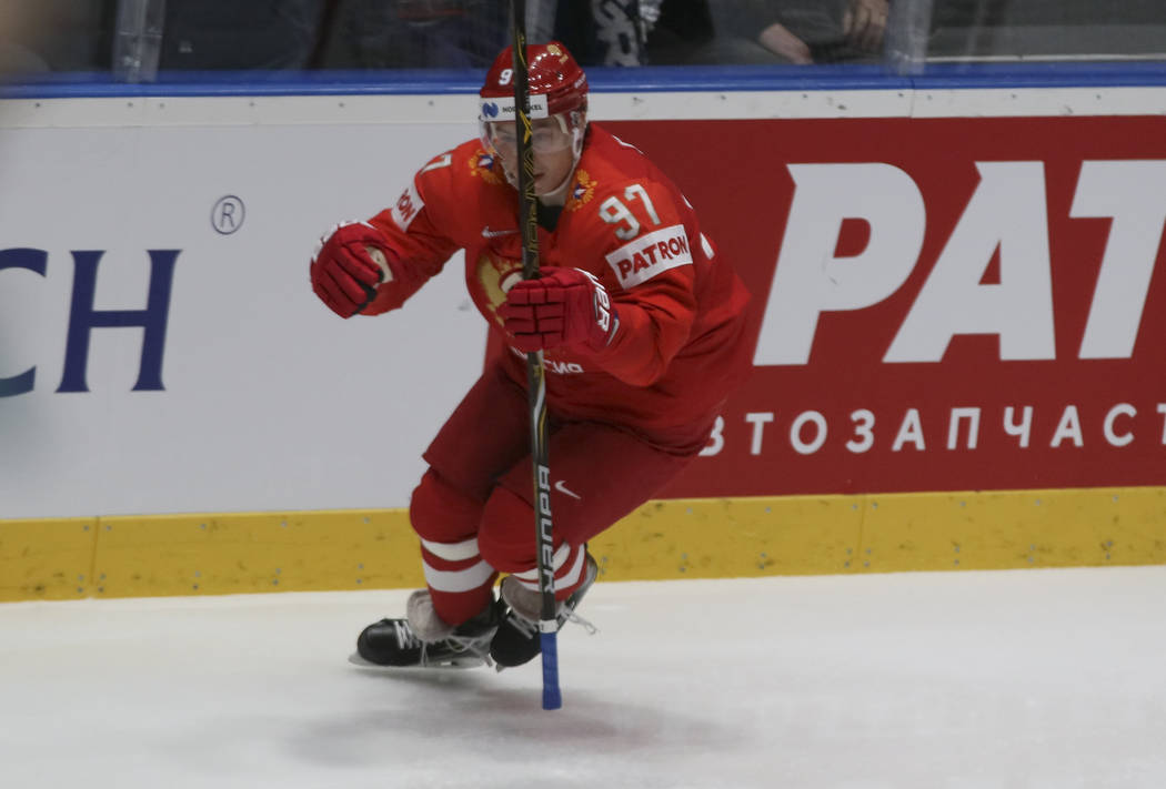 Russia's Nikita Gusev celebrates after scoring his side's first goal during the Ice Hockey Worl ...