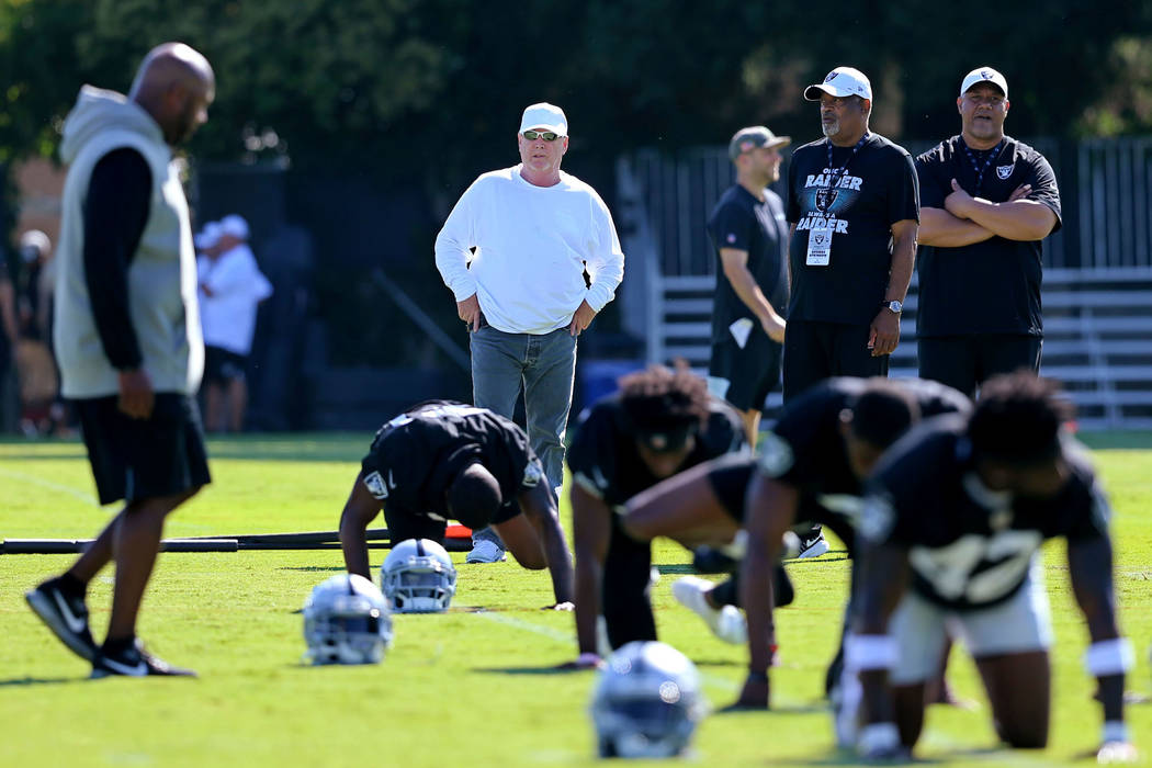 Oakland Raiders owner Mark Davis, white shirt, watches the team stretch during the NFL team's t ...