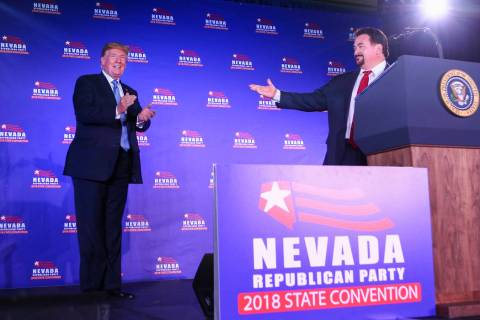 Donald Trump is introduced by Nevada Republican Party Chairman Michael McDonald during the keyn ...