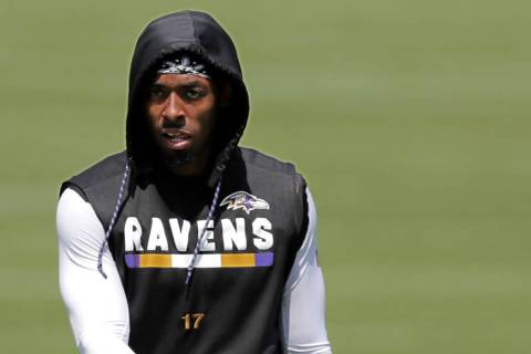 Baltimore Ravens wide receiver Jordan Lasley walks at the end of a work out during NFL football ...