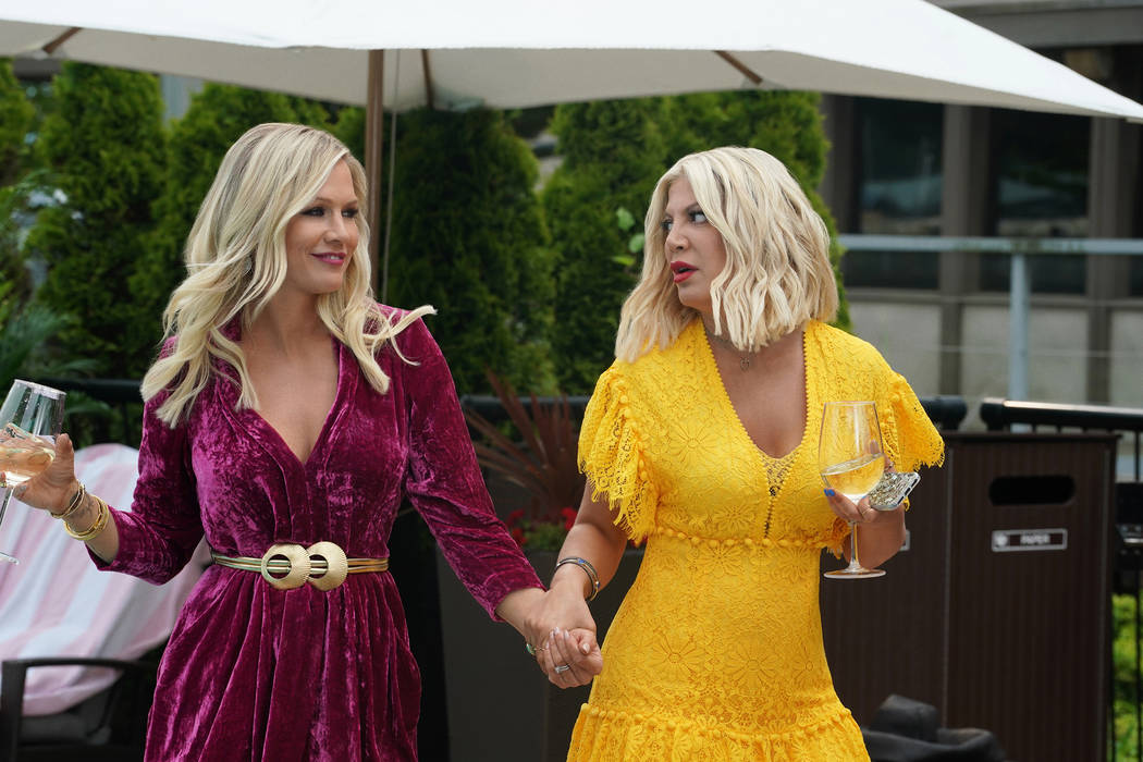 "BH90210: L-R: Jennie Garth and Tori Spelling in the BH90210 ""Reunion"" series premiere ..."