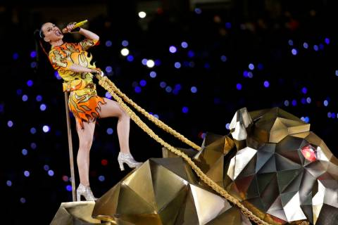 FILE - In this Sunday, Feb. 1, 2015 file photo, singer Katy Perry performs during halftime of N ...
