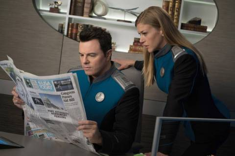 THE ORVILLE: L-R: Seth MacFarlane and Adrianne Palicki in the ÒLasting ImpressionsÓ ...