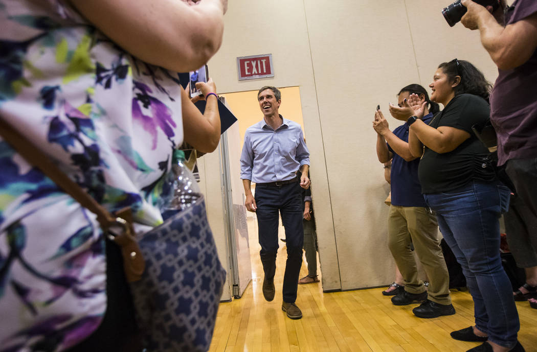 Democratic presidential candidate and former Texas congressman Beto O'Rourke arrives to speak w ...