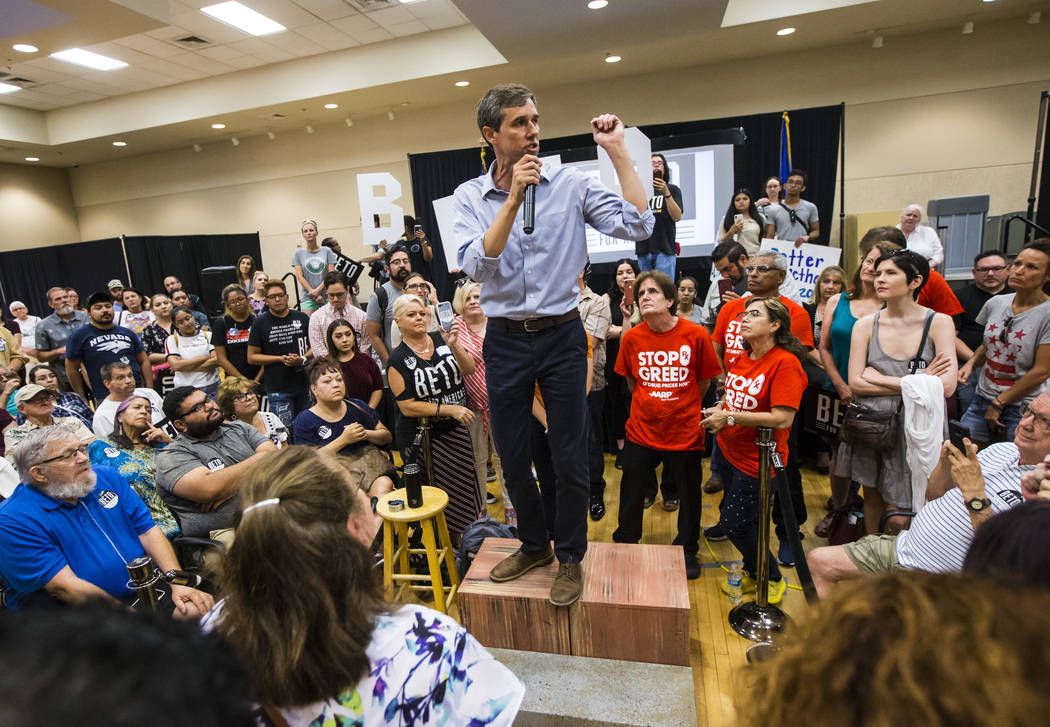 Democratic presidential candidate and former Texas congressman Beto O'Rourke addresses attendee ...