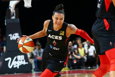 Las Vegas Aces' Kayla McBride (21), seen in a Tuesday, July 2, 2019, game, scored 19 points in ...
