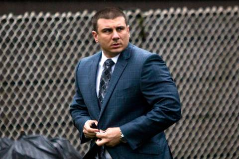 In this May 13, 2019, file photo, New York City Police Officer Daniel Pantaleo leaves his house ...