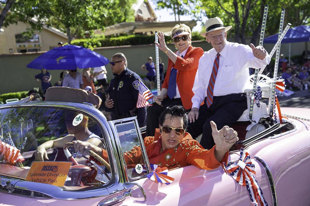 Las Vegas Mayor Carolyn Goodman and her husband, former Las Vegas Mayor Oscar Goodman, take par ...