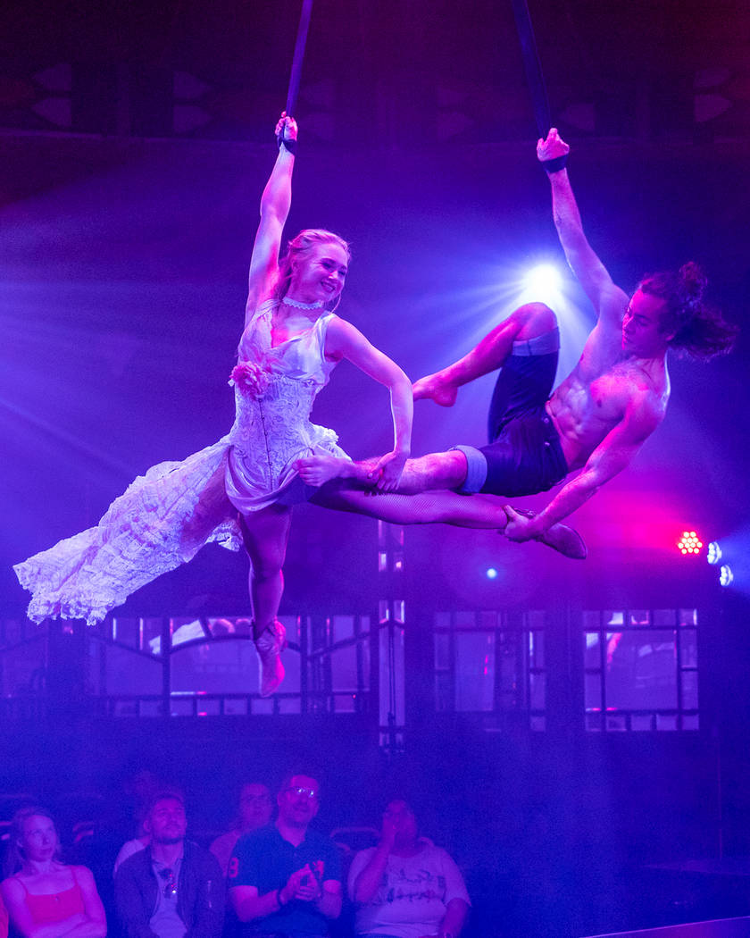 """The Lovers Straps scene as performed in """"Atomic Saloon Show"""" at its premiere at Edinburgh Festi ..."""