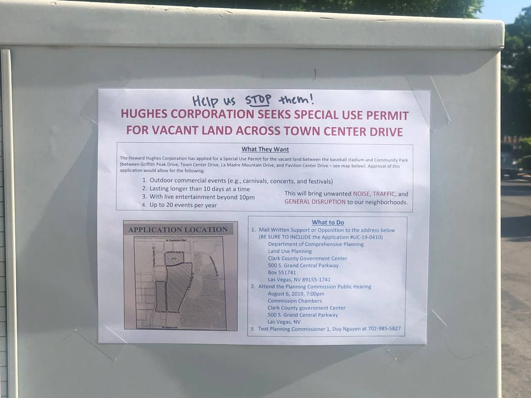 A flyer posted on some mailboxes in Summerlin about the permit application suggested (Las Vegas ...