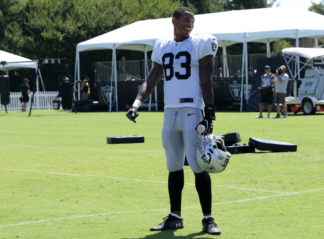 Oakland Raiders tight end Darren Waller (83) watches a media session during the NFL team's trai ...