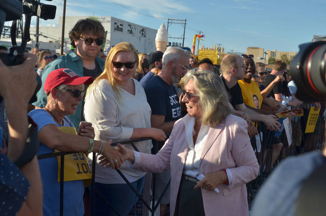 Rep. Dina Titus, D-Nev., greets people during a campaign rally for Democratic presidential cand ...