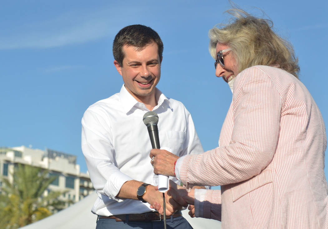 Democratic presidential candidate and South Bend, Ind., Mayor Pete Buttigieg greets Rep. Dina T ...