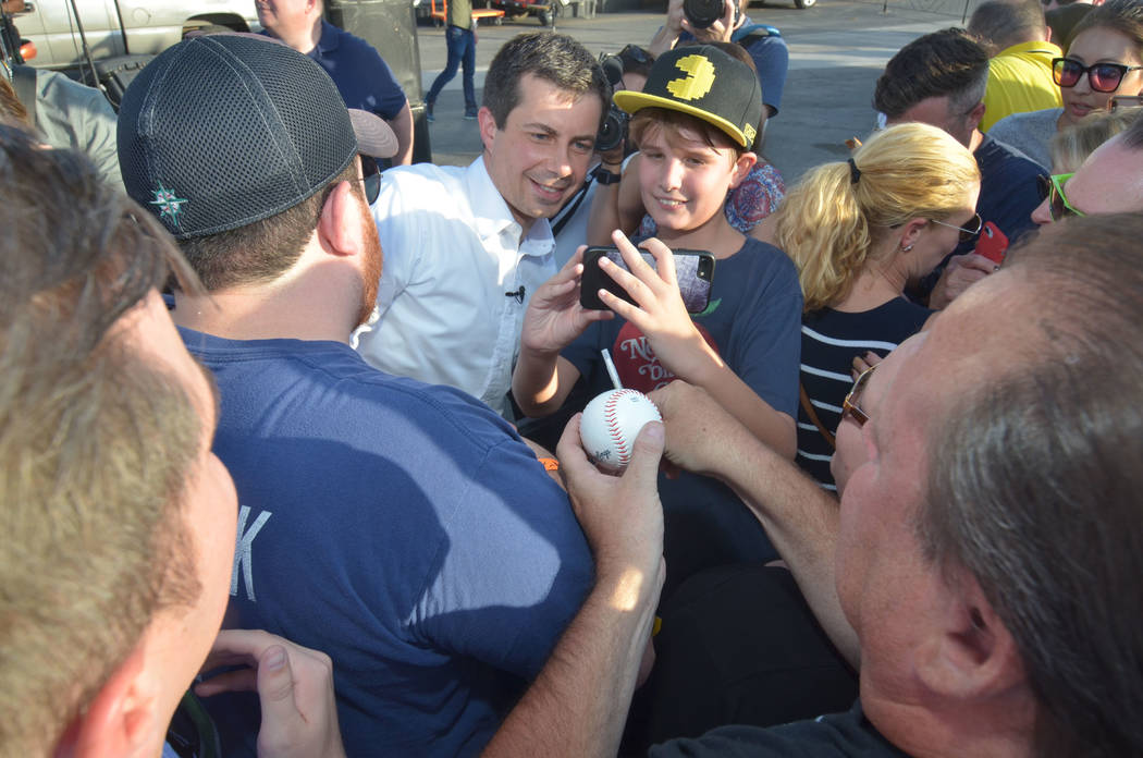 Democratic presidential candidate and South Bend, Ind., Mayor Pete Buttigieg greet people durin ...