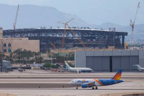 An Allegiant airplane prepares to take off from McCarran International Airport in Las Vegas on ...