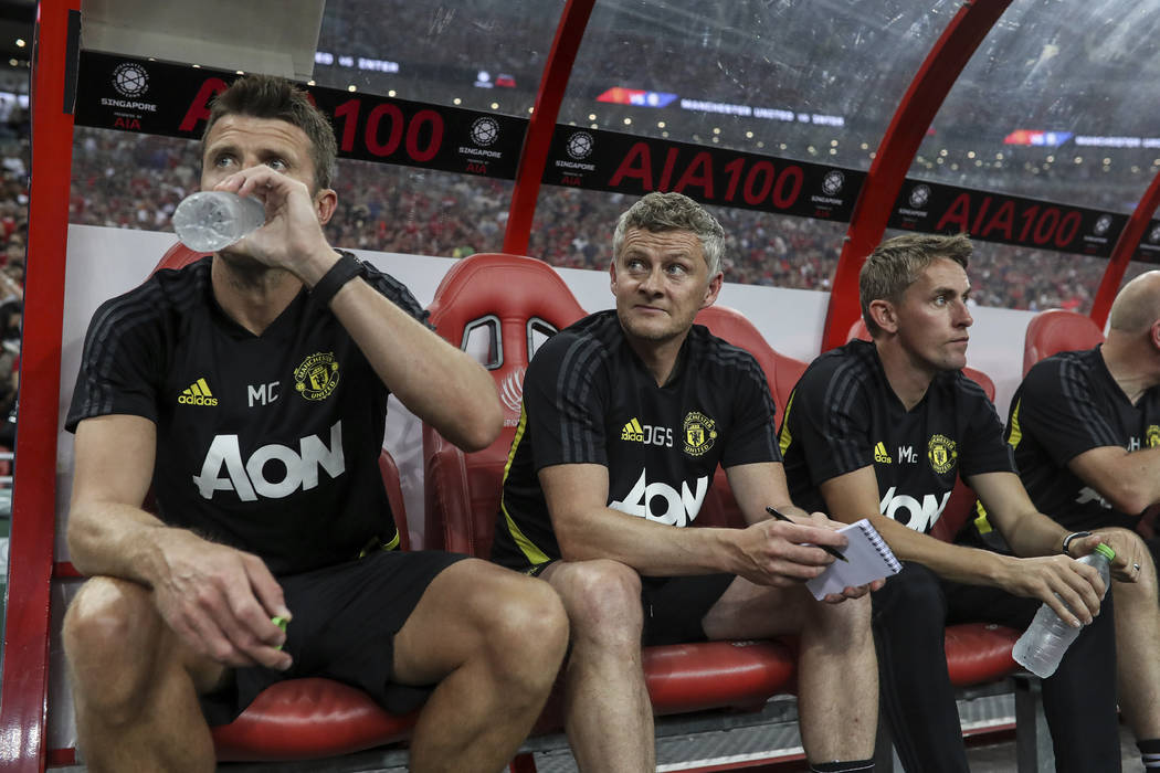 Manchester United's manager Ole Gunnar Solksjaer, centre looks on prior to the start of the Int ...