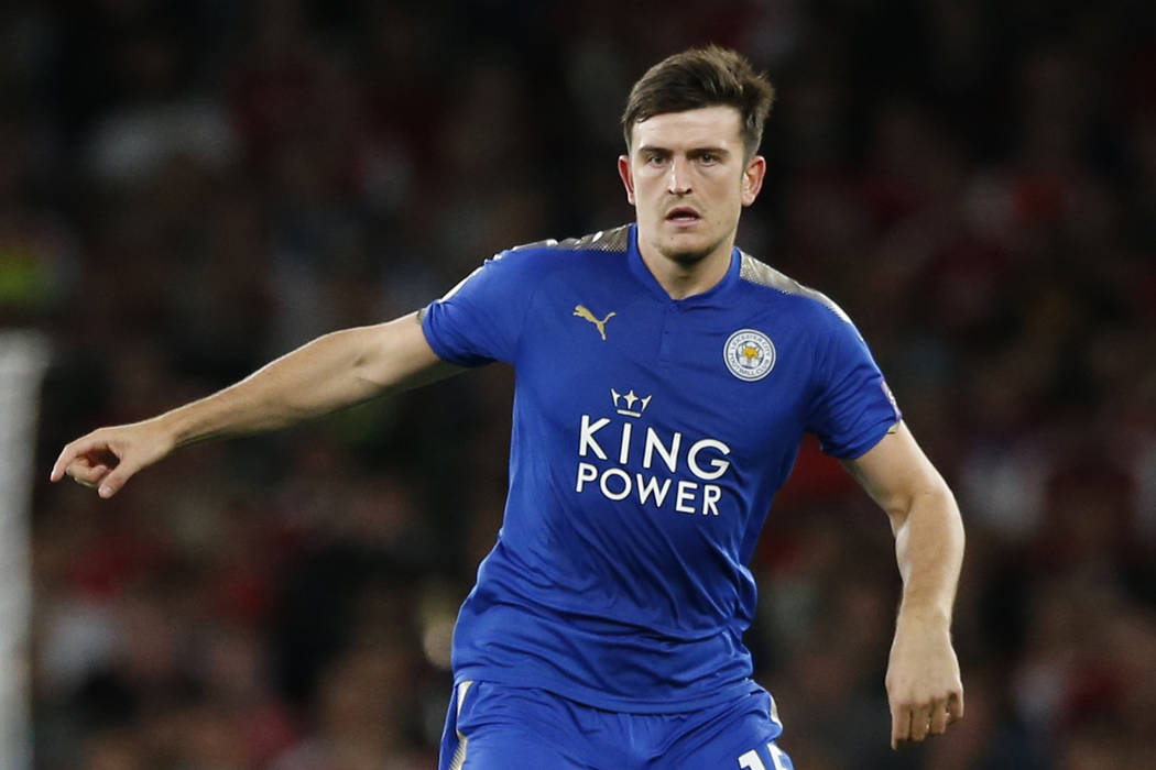 Leicester City's Harry Maguire looks to pass the ball during their English Premier League socce ...