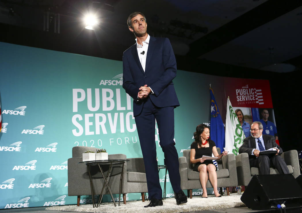 Former Rep. Beto OÕRourke, of Texas, speaks during a public forum for Democratic president ...