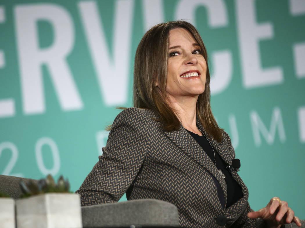 Author Marianne Williamson speaks during a public forum for Democratic presidential candidates ...