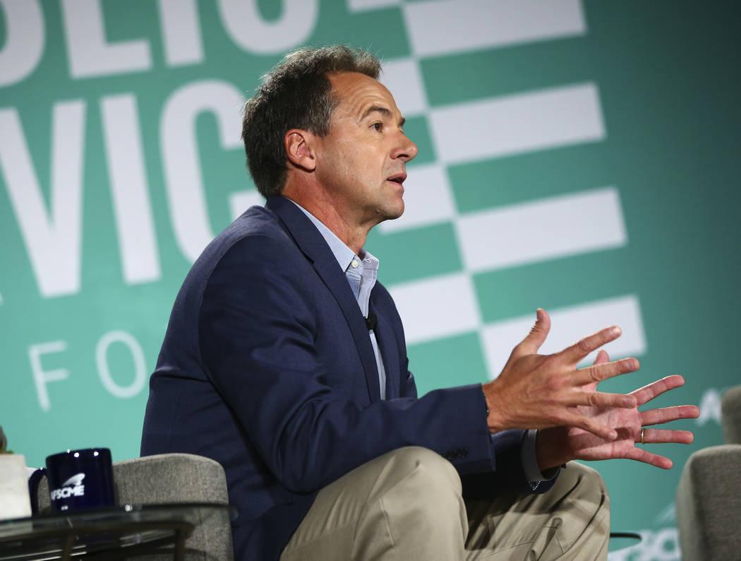 Gov. Steve Bullock, of Montana, speaks during a public forum for Democratic presidential candid ...