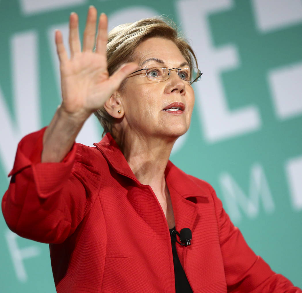 Sen. Elizabeth Warren, D-Mass., speaks during a public forum for Democratic presidential candid ...