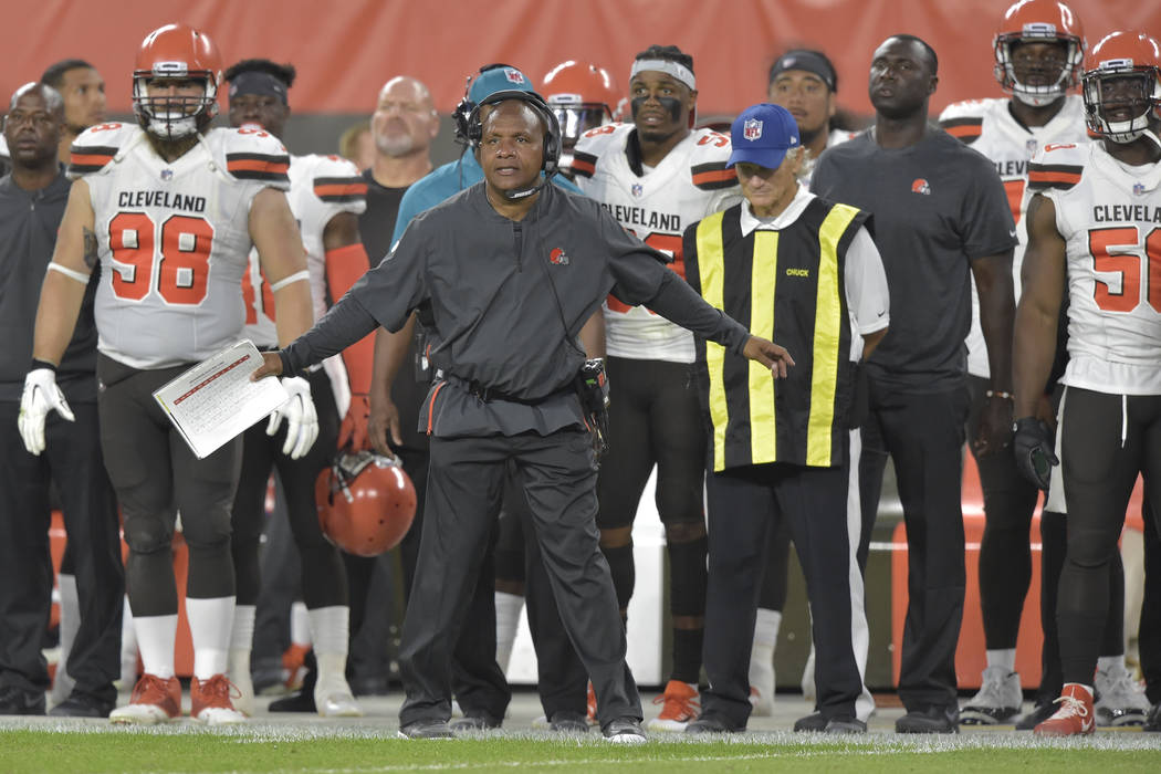Cleveland Browns head coach Hue Jackson reacts in the first half of an NFL football preseason g ...