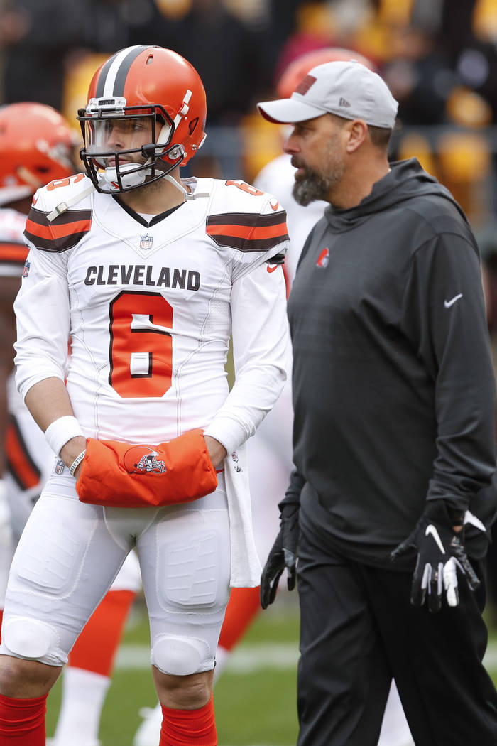 Cleveland Browns quarterback Baker Mayfield (6) stands with offensive coordinator Todd Haley wa ...