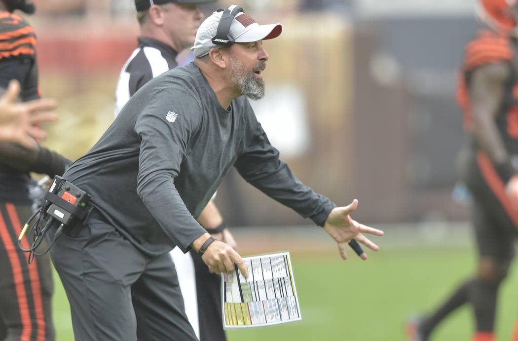 Cleveland Browns offensive coordinator Todd Haley reacts on the field during an NFL football ga ...